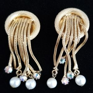 Vintage Mid Century Dangling Faux Pearl Earrings